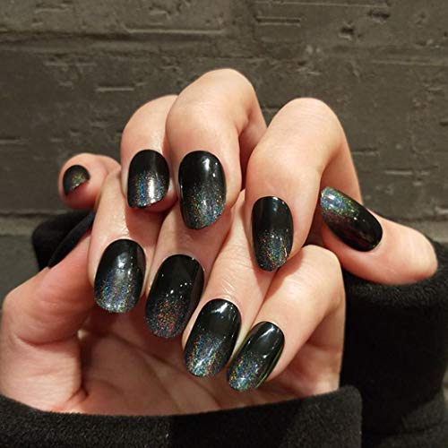 Evazen False Nails Bling Black Starry Full Cover Acrylic Fake Nails Elegant Wedding Birthday Party Clip on Nails for Women and Girls