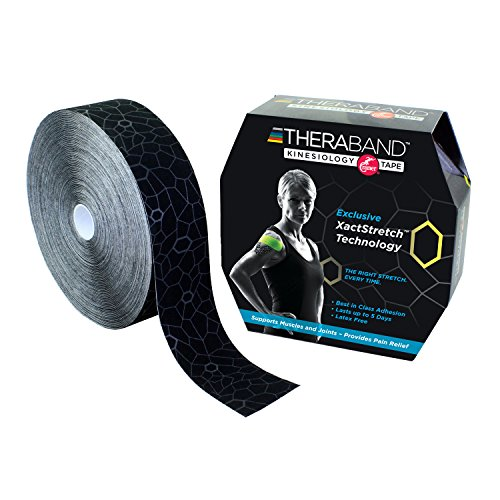 TheraBand Kinesiology Tape, Waterproof Physio Tape for Pain Relief, Muscle & Joint Support, Standard Roll with XactStretch Application Indicators, 2 Inch x 103.3 Foot Bulk Roll, Black/Gray