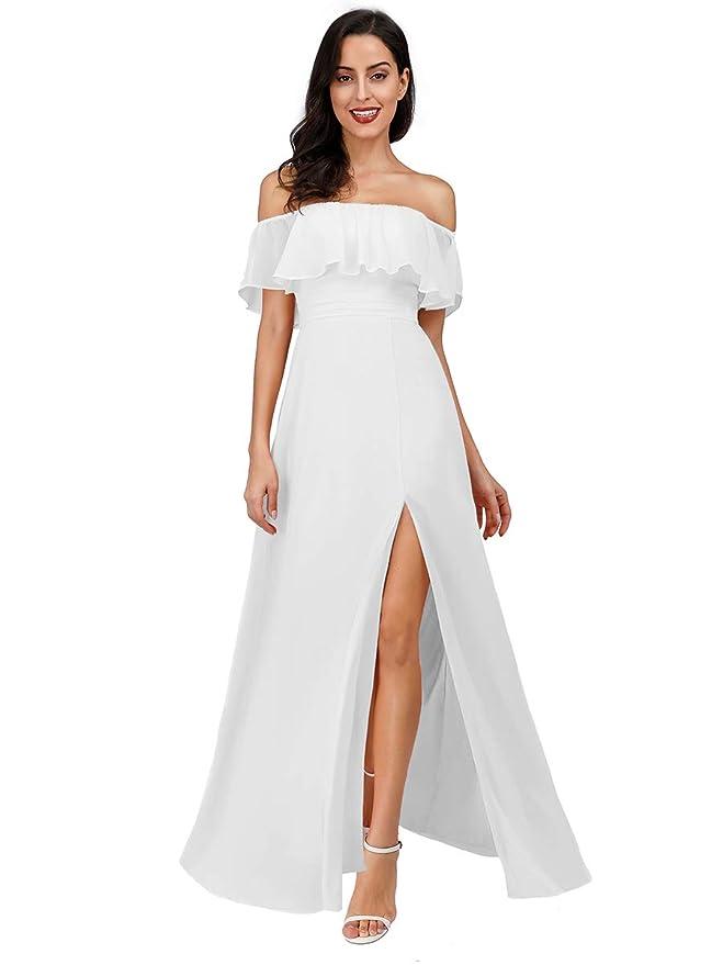 Vintage Inspired Wedding Dresses | Vintage Style Wedding Dresses Ever-Pretty Womens Off The Shoulder Ruffle Party Dresses Side Split Beach Maxi Dress 07679 $46.99 AT vintagedancer.com