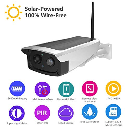 y Security Camera, Wireless IP Camera for Outdoor with 6600mAh Battery, PIR Alarm, IR-Cut Night Vision, Full HD Wide Angle Lens ()