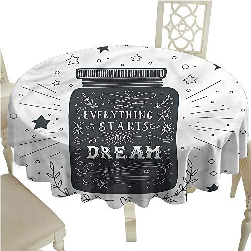 ScottDecor Dinning Tabletop Decoration Quote,Saying on Jar with Stars Tassel Tablecloth Round Tablecloth D 70