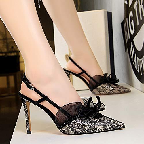 Yukun zapatos de tacón alto Zapatos De Mujer De Otoño Flor Noche Campo Punteado Stiletto Sandalias De Tacón Alto Baotou, 36, Verde Champagne