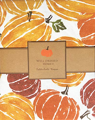 Well Dressed Home Fabric Tablecloth Bright Autumn Fall Pumpkins Squash Orange Rust Green on Cream 60 Inches by 118 Inches (Squash Autumn Decorative)