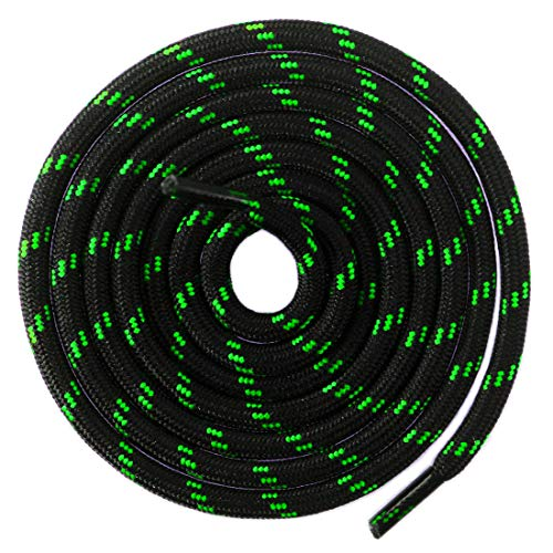 Lime Green String - Mshega Round Athletic Shoelaces Dot Hiking Shoe Laces(Black Green,100)