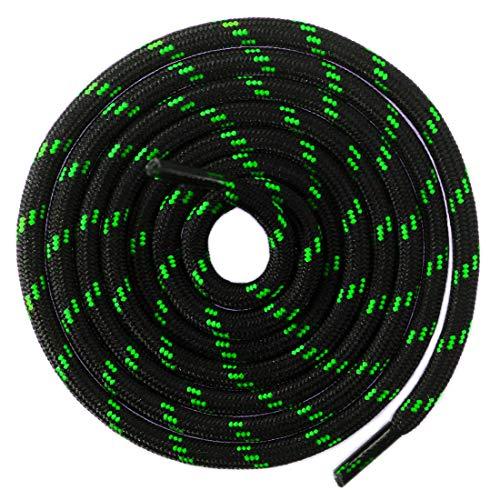Mshega Round Athletic Shoelaces Dot Hiking Shoe Laces(Black Green,160)