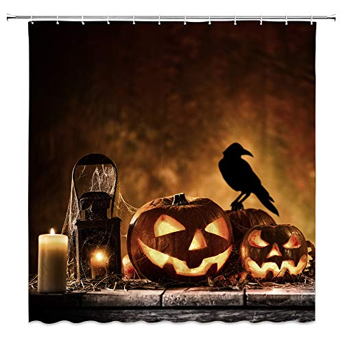 Feierman Halloween Shower Curtain for Bathroom Horror Crow Pumpkin Head Bathroom Curtain Decor Machine Washable Waterproof with Hooks 70x70Inches -