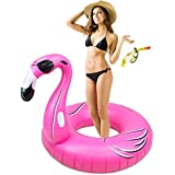 5-foot Wide Flashy Feathers Pink Flamingo Pool Float - Inflatable Water Raft by Sol Coastal