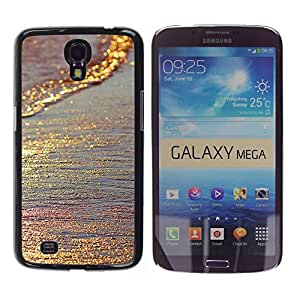 TopCaseStore / la caja del caucho duro de la cubierta de protección de la piel - Gold Glittering Iridescent Sea Sand Summer - Samsung Galaxy Mega 6.3 I9200 SGH-i527