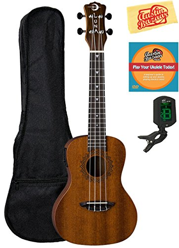 Luna Guitars Luna Vintage Mahogany Concert Acoustic-Electric Ukulele Bundle with Gig Bag, Tuner, Austin Bazaar Instructional DVD, and Polishing Cloth, Bundle w/ Gig Bag, Concert (Concert Acoustic Guitar)