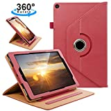 ZTOZ All New Kindle Fire HD 10 Tablet (9th/7th Generation,2019/2017 Released) Cover Case with Card Slots, 360 Degree Rotating Multi-Angle Viewing Stand Auto Sleep/Wake for Fire HD10 - Red
