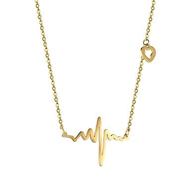 PROSTEEL Collar Colgante de Corazòn ECG Latido Colgante de Acero Inoxidable para Mujer ECG Wave Romántico Amor Encanto Plateado/Chapado en Oro/Arma ...
