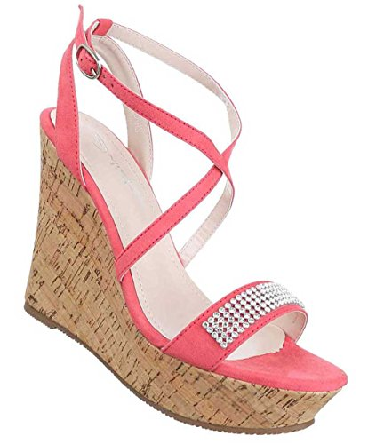 Damen Sandaletten Schuhe Keil Wedges Pumps Schwarz Pink