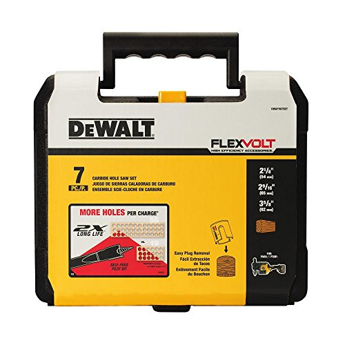 Dewalt DWAFV07SET 7-Piece Carbide Wood Drilling Hole Saw Kit