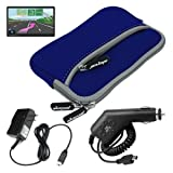 Premium Blue Glove Series Carrying Case + Clear Screen Protector + Home Wall Charger + Car Charger for Garmin Nuvi 1450 1450LMT, Best Gadgets