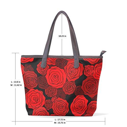 bandoulière cuir L tout fourre Rose Sacs fourre rouge en Sac Multicolor à tout 001 33x45x13 poignée Motif cm COOSUN PU Grand AS7qq