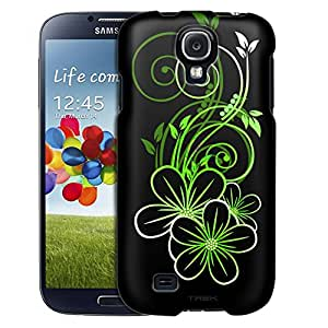 Samsung Galaxy S4 Case, Slim Fit Snap On Cover by Trek Sketch of a Flower Green on Black Case