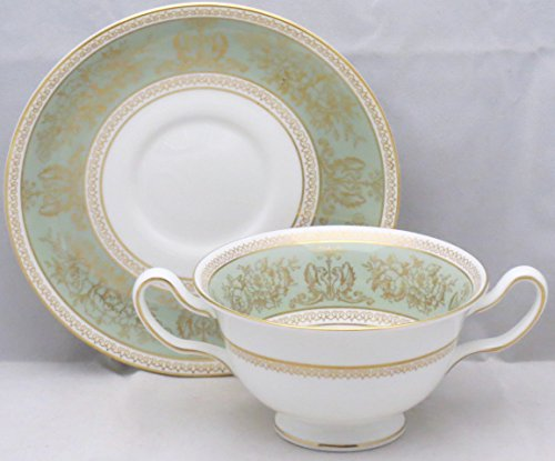 (Wedgwood Columbia-Sage Green Rim Footed Cream Soup Bowl & Saucer Set)
