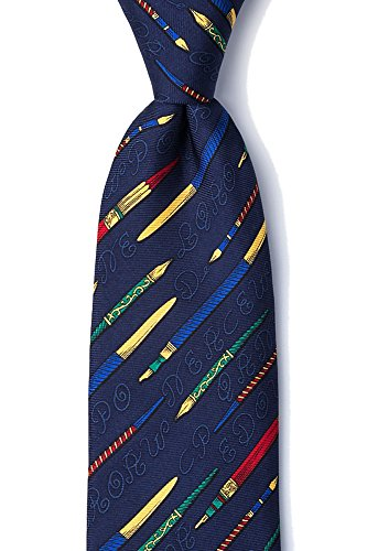 - Men's 100% Silk Navy Blue The Art Of Writing Pens Tie Necktie