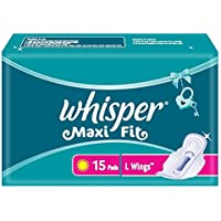 Whisper Maxi Fit Sanitary Pads - Large Wings (15 Piece Pack)