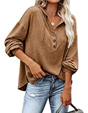 REVETRO Women's V Neck Long Sleeve Button Down Sweatshirts Hoodies Hooded Knit Henley Shirts Tunic Tops with Drawstring