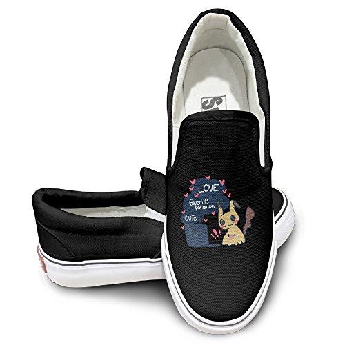 EWIED Unisex Classic Pokemon Mimikyu Pikachu Slip-On Shoes Black - Valentine Blue Gosling Ryan Jacket