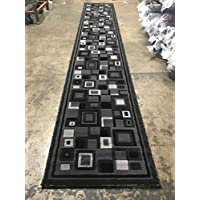 Modern Long Contemporary Runner Area Rug Grey & Black Design H078A (32 inch X 15 Feet 10 Inch)