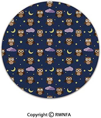Quality Well Woven Barclay Round Area Rugs,Cute Owls in an Starry Night and Moon Happy Sleepy and Alert Animals Decorative 6' Diameter Night Blue Brown Yellow,for Kids Room Bedroom Kitchen