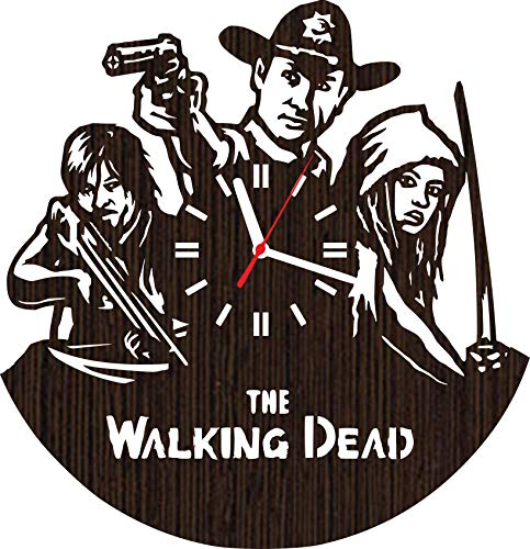 Wooden Wall Clock The Walking Dead tv Show Series Gifts for Men Women him her Fans Unique Home Decorations Decor Rick Grimes and Movie Zombie Daryl Dixon Norman Reedus Negan Season 8 7 6 Vinyl