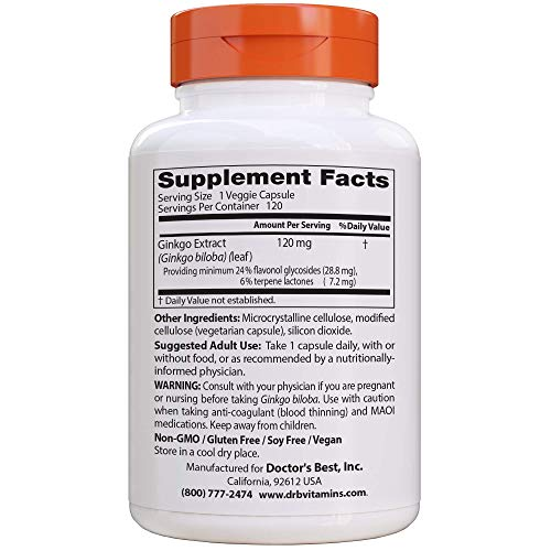 Doctor's Best Extra Strength Ginkgo, Non-GMO, Gluten Free, Vegan, Soy Free, Promotes Mental Function and Memory, 120 mg, 120 Count (Pack of 1)
