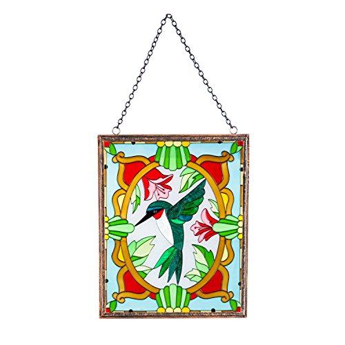 (Evergreen Hummingbird Stained Glass Hanging Suncatcher )