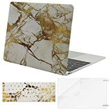 Mosiso Plastic Hard Case with Keyboard Cover with Screen Protector for Macbook 12 Inch with Retina Display A1534 (Newest Version 2017/2016/2015), White and Gold Marble