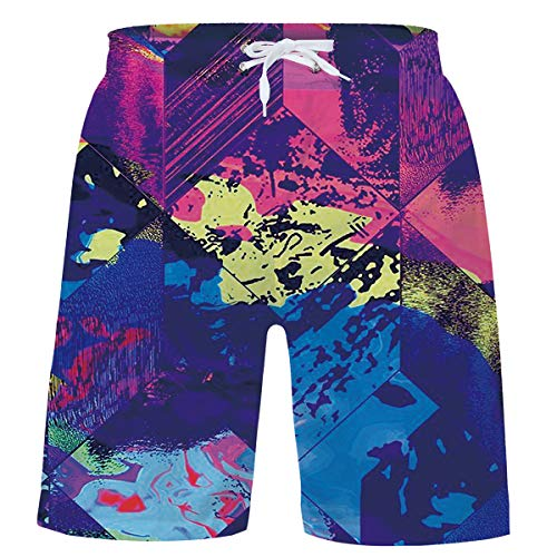 (Little Boy's Bathing Suits Quick Dry Swimwear Ink Point Swim Trunks 3D Colorful Printed Board Shorts Adjustable Belt Swimsuits with Pocket for Purple Swim Sports 5-6 Years)