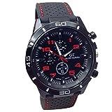 Han Shi Wristwatch, Fashion Men Military Quartz Watch Hours Analog Sport Wrist Watch Clock (A, Red)