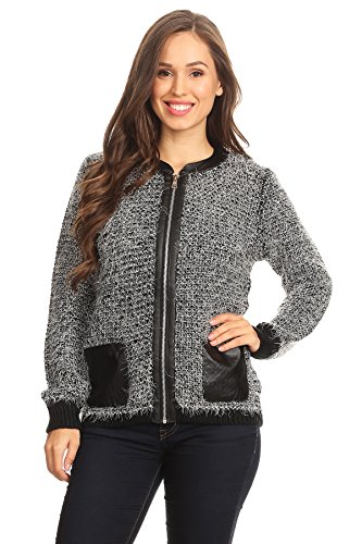 Gray Tweed Jacket - H&H Fashion Women's Long Sleeve Zip Up Tweed Jacket Charcoal Gray-L