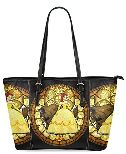 Fashionable Shopping Tote Bags High-grade PU Leather Grocery Tote bags with Beauty and The Beast Pattern
