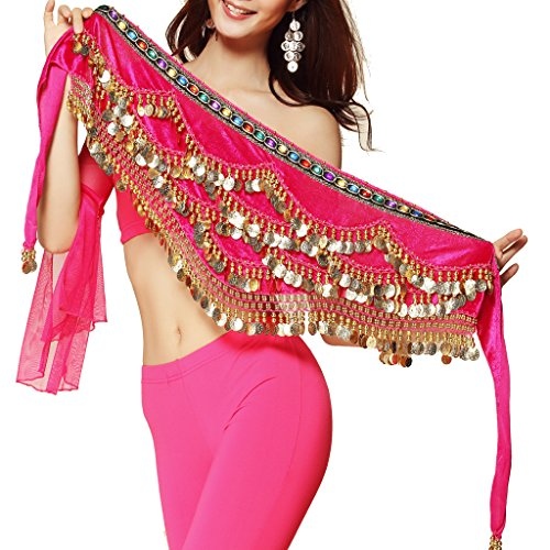 Hip Scarf Coin Wrap - Pilot-trade Women's Triangular Belly Dancing Hip Scarf Wrap Skirt with Gold Coins Dark Pink