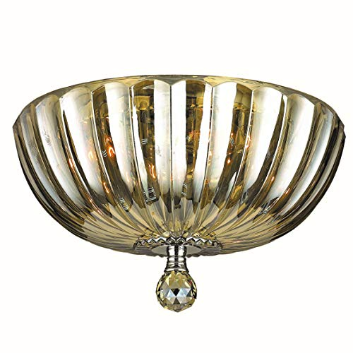 Worldwide Lighting Mansfield Collection 4 Light Chrome Finish and Golden Teak Crystal Bowl Flush Mount Ceiling Light 14