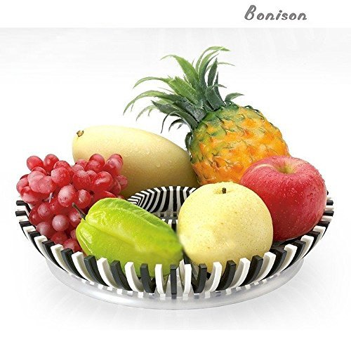 Boon fruit plates-Shatter Proof Fruit Tray Platter DIY Compote - Tough ABS Plastic Fruit Bowl - Make Beautiful Fruit Arrangements - Fruit Trays for Parties, Weddings, Baby Showers Black & White (Abs White Tray)