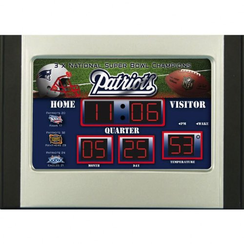 Evergreen 1 Pc, New England Patriots Scoreboard Desk & Alarm Clock, with Time, Date, Temperature & Four Alarm Settings, Up To Date Logos & Designs, 6.5