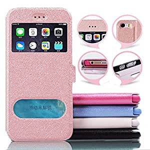 SHOUJIKE GYM Silk Pattern Window View Full Body Case for iPhone 6 Plus(Assorted Colors) , Blue