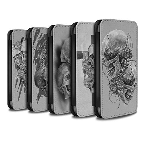 Stuff4 Coque/Etui/Housse Cuir PU Case/Cover pour Apple iPhone 7 / Pack 5pcs Design / Crâne Art Croquis Collection