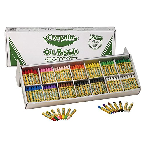 Crayola Oil Pastels Classpack, 12 Brilliant Opaque Colors (336Count) Large Hexagonal Shape Pastels, Ideal For Kids 3 & Up, Non-Toxic, Blendable, Strong, Long Lasting Sticks, Bulk Value Classroom -
