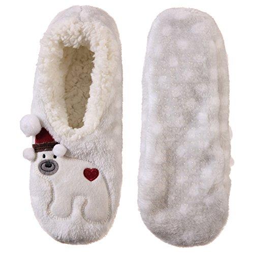 Dosoni Femmes Fille Super Doux 3d Santa Design Nouveauté Cadeau De Noël Pantoufles Dhiver Floues Ours Polaire Blanc