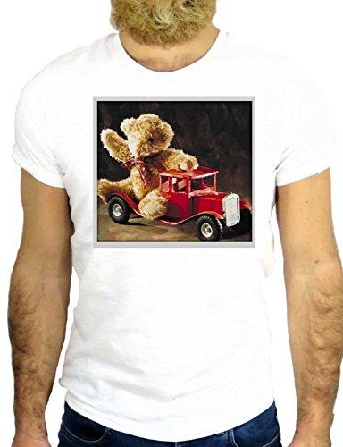 T SHIR Z2498 BEAR FIREMAN COOL CHRISTMAS NICE VINTAGE PUPPY VINTAGE COOL FUN GGG24 BIANCA - WHITE L