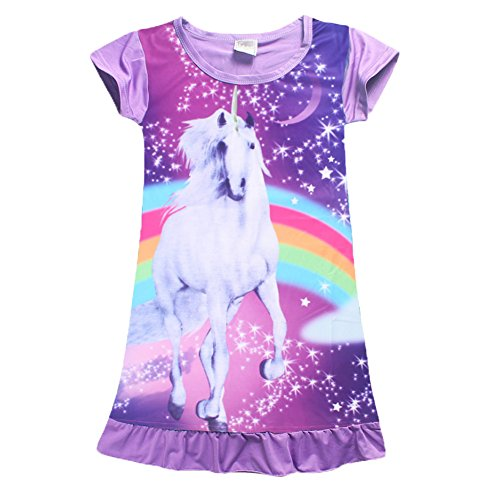 YIJODM Comfy Girls Unicorn Printed Rainbow Princess Casual Dress Nightgown Nightie for Toddler ()