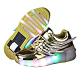 Girls Boys Wing LED Light Sneakers Shoes With Wheel Kids Roller Skate Shoes(Gold 10 M US Toddler)