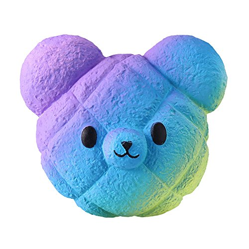 Wenjuan Kawaii Cartoon Galaxy Bear Jumbo Squishy Slow Rising Cream Scented Stress Reliever PU Collection Keychain Phone Strap Cure Decor Gift Toy (Blue)