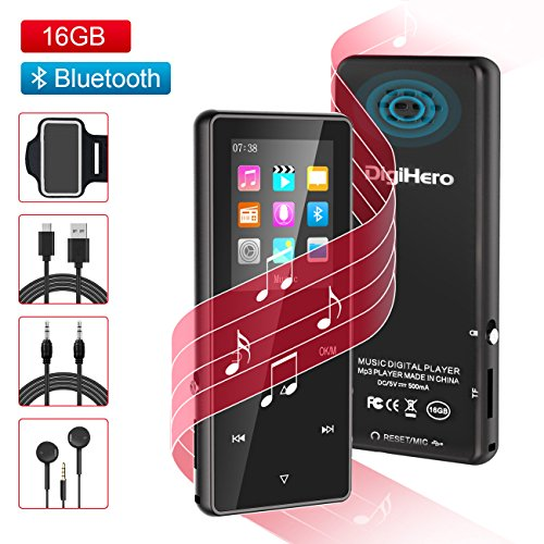 MP3 Player with Bluetooth,Digihero 16GB mp3 Player with FM Radio/Voice Recorder/Alarm Clock, Lossless Sound,65Hours Playback,HD Sound Quality Earphone, with Earphone Armband for Sport Running