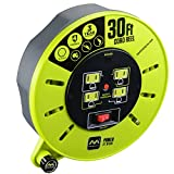 Masterplug Heavy Duty Extension Cord Cassette Reel with 4 120V / 10 amp Integrated Outlets, 30ft