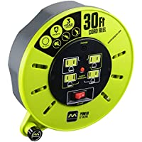 Masterplug 30ft Extension Cord Cassette Reel with 4 120V 10Amp Outlets